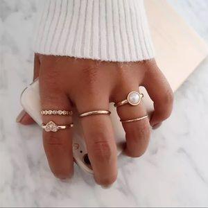 {MILLIE} Boho heart pearl dainty stack ring bundle